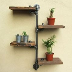 URBAN INDUSTRIAL RUSTIC WALL MOUNT IRON PIPE 4 TIERS WOOD SHELF SHELVING STORAGE in Home, Furniture & DIY, Furniture, Bookcases, Shelving & Storage | eBay