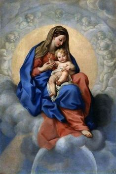 Our glorious Mother Mary holding the child Jesus in her lap surrounded by angels and resting on the clouds of heaven, by C. Blessed Mother Mary, Blessed Virgin Mary, Catholic Art, Catholic Saints, Religious Images, Religious Art, Images Of Mary, 3d Cnc, Queen Of Heaven