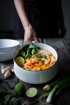 Northern Style, Thai Coconut Noodle Soup called, Khao Soi | www.feastingathome.com