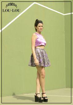 Mini Juliette en paillettes estampado en violeta y top limoux en violeta claro