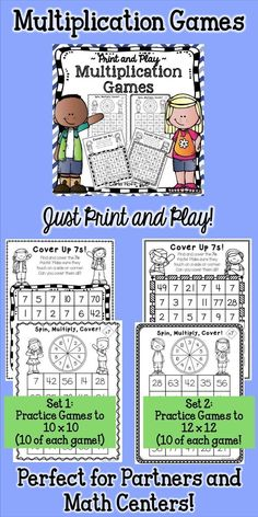 Print & play multiplication games - the perfect way to review and practice multiplication facts!  My students loved these games!
