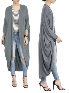 f810a0613f5 Details about Fashion Women Batwing Sleeves Solid Cardigan Cloak Outwear  Casual Clubwear Tops