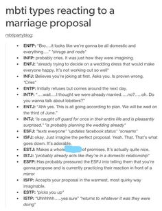 mbti reacting to a marriage proposal