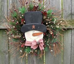 Snowman Door Wreath Winter Wreath Holiday Wreath by countryprim, $40.00