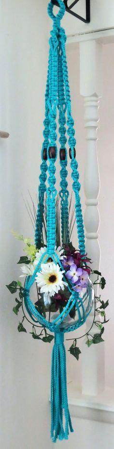 """Macrame Plant Hanger, TURQUOISE, wood beads, 45"""", modern, hanging planter…"""