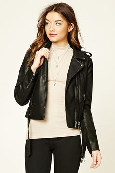 A faux leather moto jacket featuring an asymmetrical zippered front, collar, zippered pockets, a belted waist, and long zippered sleeves.
