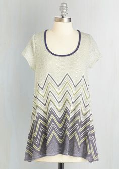 And We're Lively Top. Youre on-air in 3, 2, 1, and you're peppy and prepared in this chevron-striped top! #cream #modcloth