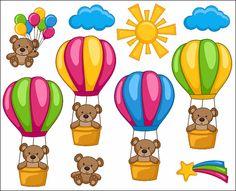 Cute Bears Hot Air Balloons Sun Digital Clip Art by YarkoDesign, $3.99