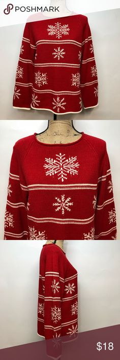 Liz Claiborne Christmas Snowflake Sweater Posh Thrift Shop 