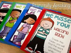 Absent Folders FREEBIE! Use these folders to store assignments that students need to complete upon returning to school.  Great for keeping track of materials.