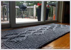 que bonita alfombra y facil de tejer