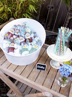 Summer Party Drink Station for an outdoor summer Ice Cream Party