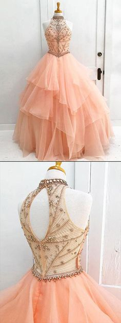 Organza High Neck Beaded Ball Gown Halter Bodice Prom Dress Quinceanera Dress, M194 #Organza #Highneck #Beading #Prom #Promdress