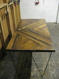 Flooring Used In The Design Of This Recycled Table. These Hairpin Legs Are  Very Popular For Those Who Love The Industrial Look. Amazing Pictures