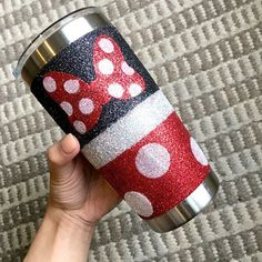 My Minnie Mouse glitter YETI is now available in my Etsy Shop! Link in my IG description. I have a limited quantity that I'll be making so… Diy Tumblers, Custom Tumblers, Glitter Tumblers, Tumblr Cup, Disney Cups, Cup Crafts, Custom Cups, Glitter Cups, Personalized Cups