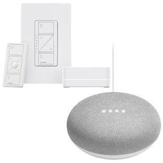 New! Lutron Caseta Wireless Dimmer Kit with Smart Bridge & Google Home Mini - Chalk  Creating a smarter home is easy with this home automation bundle, featuring Google Home Mini. Powered by the Google Assistant, this voice-activated speaker lets you operate smart devices, like the included Lutron Caseta wireless dimmer kit with smart bridge.