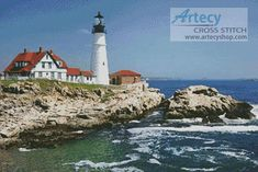 Portland Head Lighthouse - Cross Stitch Chart - Click Image to Close