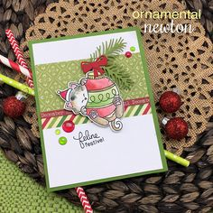 Ornamental Newton Stamp Set by Newton's Nook Designs Christmas Cats, All Things Christmas, Xmas, Christmas Ideas, Cat Cards, Greeting Cards, Scrapbook Cards, Scrapbooking Ideas, Winter Cards