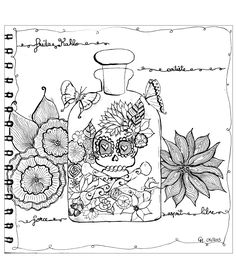Free coloring page coloring-cathym25. 'Hommage to Frida Khalo', exclusive coloring page by Cathy M See the Facebook page See the original work