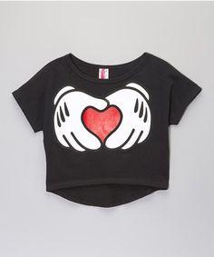88c9d3d4a4538 American Kids Black Hand Heart Crop Top - Girls