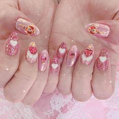 in the moonlight Peach Nails, Soft Nails, Kawaii Nail Art, Cute Nail Art, Best Acrylic Nails, Acrylic Nail Designs, Stylish Nails, Trendy Nails, Asian Nails