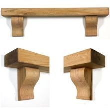 Designed to fit over a fireplace opening with a stove this oak mantel shelf has shapely corbels with a thick shelf. Oak Beam Fireplace, Wooden Fireplace Surround, Oak Mantle, Wooden Mantle, Rustic Fireplace Mantels, Wooden Columns, Mantel Shelf, Fireplace Wall, Fireplace Surrounds
