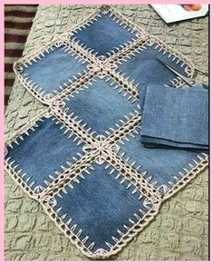 A denim-look combination of woven fabric and crochet (fusion crochet) . Fabric Crochet Quilt Source by enayylmazer grannie square and denim quilt - Yahoo Image Search Results This Pin was discovered by med High Tea crochet quilt: http:/ Crochet Quilt, Crochet Squares, Crochet Stitches, Granny Squares, Crochet Edgings, Crochet Geek, Crochet Fabric, Crochet Pillow, Blanket Crochet
