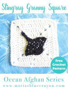Stingray Granny Square | Free Crochet Pattern | Stingray Applique | Motif | Ocean Afghan Series