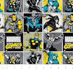 Camelot Cottons House Designer - Marvel Comic II - Comic Blocks in Sunshine