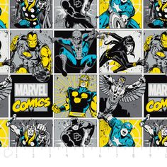 Camelot Cottons House Designer - Marvel Comic II - Comic Blocks in Sunshine
