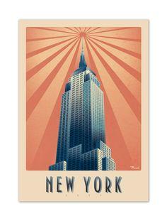 """€25 . Affiche Illustration Originale Marcel NEW YORK """"Empire State Building"""" . Papier 350g/m² Couché Mat"""