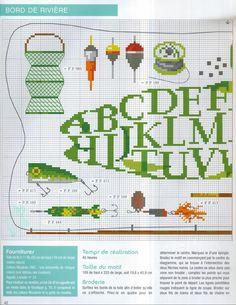 fisherman sampler 1/2 Cross Stitch Borders, Cross Stitch Alphabet, Cross Stitch Samplers, Cross Stitch Animals, Cross Stitch Patterns, Embroidery Art, Cross Stitch Embroidery, Dmc, Canvas Designs