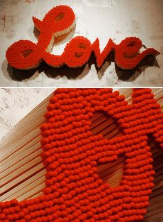 Nothing says Happy Valentine's Day like a bunch of lovey-dovey words that could go up in a roaring hot blaze at any moment! US based artist Pei-San Ng creates these gorgeous pieces from vintage matche Easy Crafts, Diy And Crafts, Arts And Crafts, Art Projects, Projects To Try, String Art, Amazing Art, Cool Art, Contemporary Art