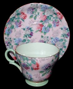 Shelley Cup And Saucer Summer Glory Chintz Pink Henly Shape Demitasse - Antiques And Teacups - 1 Tea Cup Set, My Cup Of Tea, Cup And Saucer Set, Tea Cup Saucer, Tea Sets, Teapots And Cups, Teacups, Bone China Tea Cups, Vintage Tea