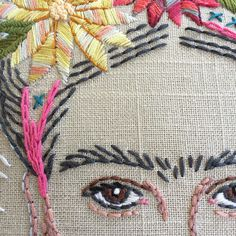 The eyes have it I share my methods for embroidering facial features in the PDF Swipe ⬅️ to see the full Frida pillow before / after stitching! Linen pillow cover with a black corded edge Link to this embroidery kit in bio Mexican Embroidery, Cross Stitch Embroidery, Embroidery Patterns, Hand Embroidery, Antique Sewing Machines, Contemporary Embroidery, Modern Cross Stitch Patterns, Doll Face, Cross Stitching
