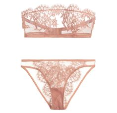 I.D. Sarrieri Jamais le Premier Soir Tulle and Chantilly Lace Bandeau Bra ($185.00) and Brief ($140.00) in Blush I Bedroom Barre: Ballet-Inspired Lingerie  Loungewear Fit For a Fairytale