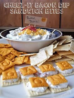 Slam Dunk Cheez-It Bacon Dip Sandwich Bites. Bacon Dip recipe and Game Day ideas! Bacon Recipes, Dip Recipes, Snack Recipes, Cooking Recipes, Appetizer Dips, Appetizers For Party, Appetizer Recipes, Bacon Dip, Family Weekend