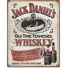 Jack Daniel's Old Time Tennessee Sippin Whiskey Distressed Retro Vintage Tin Sign