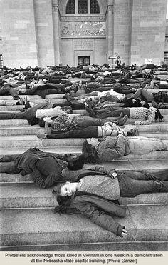 Anti-Vietnam War Demonstration, Nebraska State Capitol Building, 1969?