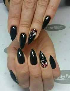 Black red dots nails