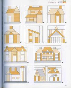 House Quilt Patterns, House Quilt Block, Patchwork Quilt Patterns, Modern Quilt Patterns, Paper Piecing Patterns, Quilt Block Patterns, Pattern Paper, Quilt Blocks, Tree Quilt