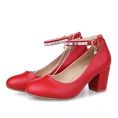 Women's+Spring+/+Summer+/+Fall+Platform+/+Round+Toe+Leatherette+Dress+/+Casual+/+Party+&+Evening+Chunky+Heel+Buckle+Black+/+Red+/+White+–+USD+$+32.99