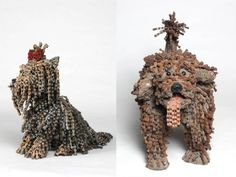 Dog Sculptures Made of Bicycle Chains by Nirit Levav - For more great pics, follow www.bikeengines.com