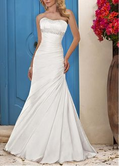 ELEGANT SATIN A-LINE STRAPLESS SLIGHTLY SCOOP NECKLINE PLEATED DRAPED BEADED WEDDING DRESS WITH LACE APPLIQUES