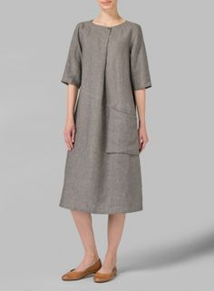 Linen Long Center Pleated Dress