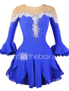 Figure Skating Dress Women's Girls' Ice Skating Dress Rhinestone Appliques Flower(s) Lace High Elasticity Performance Practise Skating 2018 - $85.49