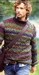 Схема вязания: Пуловер из пряжи секционного крашения   Пуловеры спицами - petelka.net