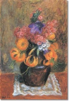 william glackens flowers | William James Glackens - Flowers In A Brown jug Painting
