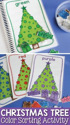 Christmas tree color sorting activity and busy book.  Kids can learn colors by placing the  gifts under the matching Christmas tree.  A fun hands-on individual or small group color activity for preschool, pre-k, and tot school.