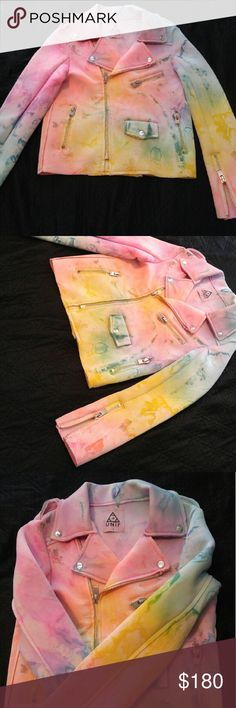 """UNIF """"I dye"""" neoprene moto style jacket Small Gorgeous limited edition jacket by Unif. Ordered from the UNIF website. This jacket is new without tags. Ordered and realized it was just to small for me. Beautiful colors, undamaged and new. UNIF Jackets & Coats Utility Jackets"""